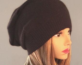 Anna, 100% pure cashmere hat,  slouchy, beanie, brown