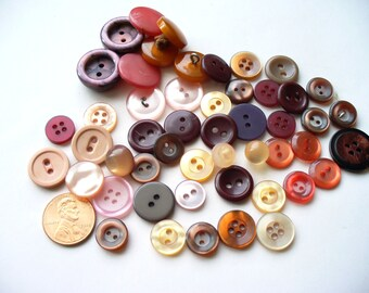 Vintage Button Destash Lot Pink Purple Red Lucite Plastic Bakelite