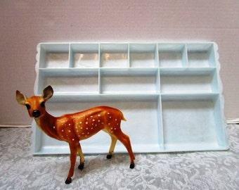 1 Vintage Pale Blue Large Plastic Divided Tray, Vanity Organizer, Feminine Boudoir Dresser Accessory, Hard Plastic Shabby Chic Cottage Decor