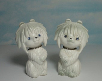 Vintage Ceramic Cute Dogs Salt and Pepper Shakers with Blue Rhinestones Eyes.
