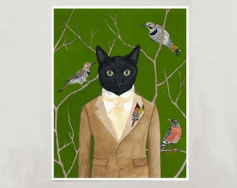 Art Print - Black Cat Boy - Signed by Artist - 8x10 // 16x20 // 22x28