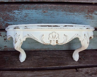 Vintage Shabby chic Wall Shelf Distressed Chippy Antique off White Baroque Hollywood Regency Burwood Wall Hanging Display