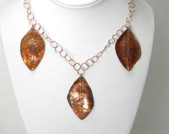 SALE Copper Leaf necklace,  copper chain, long necklace, flame painted,forged, statement, trending organic, autumn leaves, boho, rustic, bib