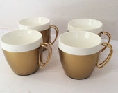 4 Mid-Century MOD Cups Gold Plastic w Metal Handles Insulated Made in USA