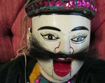 Vintage Large MARIONETTE Made in Thailand Original Label Asian Art