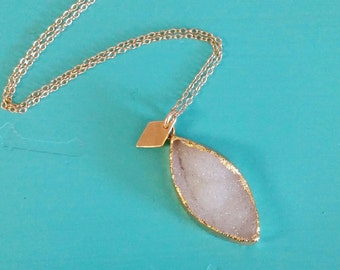 SALE! White Drusy quartz necklace w diamond shape gold charm. Layer. Dainty. Delicate. Unique. Personalize. Druzy. Minimalist. Boho. Initial