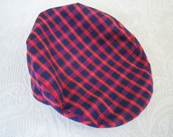 Vintage Accessory Mens Red Navy Plaid Cap Seifter Associates Newsboy Cap Large Cap