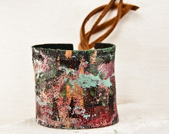 Painted Leather Jewelry - Casual Cuff Bracelets Bohemian Gypsy - Stylish Wrist Cuffs Leather Bracelet  Gift