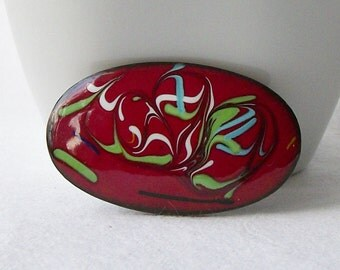 ON SALE Vintage Enamel Red Pin
