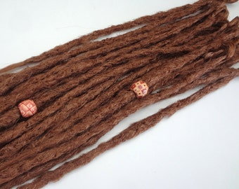 20 Auburn synthetic dreads. Synthetic dreads, dreadlocks, dreads, synthetic dreadlocks, dreadlock extensions, long thin single ended