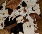 Western Cowboy Cowgirl Baby Blanket Cow Print Minky SPECIAL ORDER ITEM