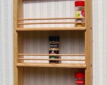 Personalized Triple Shelf Oak Wooden Spice Rack  Classic Style