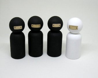 Ninjas Peg Doll Playset READY TO SHIP