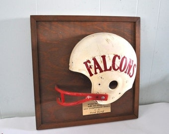 80s Football Helmet Trophy Plaque 1982 Fairmont State College Fighting Falcons WV West Virginia 1980s Unique Sports vintage not nfl atlanta