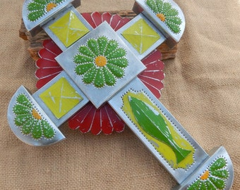 Tin Punch Cross  ~  Tin Cross in Lime Green, Light Lime Green and Red  ~  Traditional Tin Punch Cross  ~  Southwest Cross
