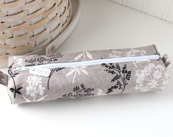 Black and White Botanical Pencil Case Gray Boxy Pouch Cute Floral Pencil Pouch Zipper Pouch