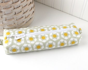 Yellow and Gray Modern Colorful Pencil Case Boxy Pouch Geometric Print Gray Pencil Pouch