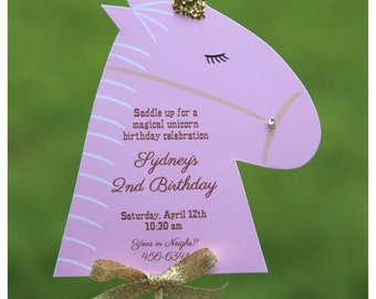 10 Beautiful Magical Unicorn or Horse / Pony Party Farm Birthday Invitations  by Palm Beach Polkadots