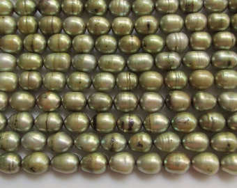 Olive Green 8mm by 6mm Rice Freshwater Pearls 7.5 inches (19cm)