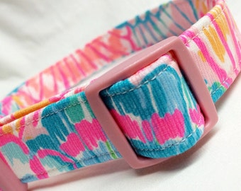 Lilly Pulitzer Fabric Dog Collar Girl Pink Multi Oh Shello