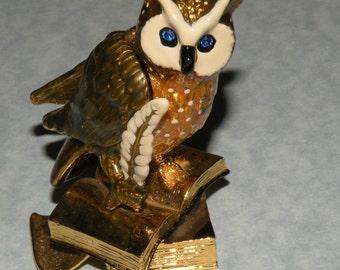Enamel Metal Owl figurine Wings Open