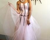 SALE 50% OFF Vintage 80s Baby Pink Ballerina Tulle Layered Tutu Skirt Pastel Netting Long Black Ribbon Bows Strapless 1980s
