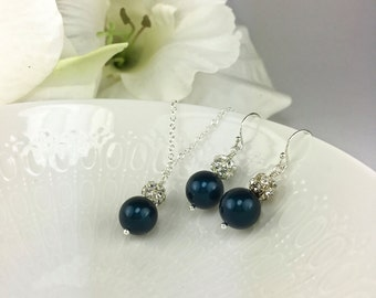 Dark Blue Bridesmaid Jewelry Midnight Blue Bridesmaid Jewelry Night Blue Hannah