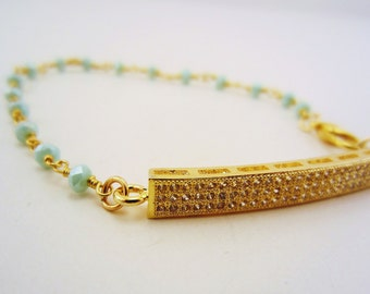Pave pendant gold bracelet. Bar bracelet, beaded bracelet with tiny blue opaque beads. Dainy bracelet. Bridesmaid gift. Gift for her.