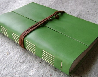 """Handmade leather Journal, 6""""x 9"""", lime green journal, rustic hand sewn leather journal (2110)"""