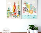 LARGE Wall Art Canvases, You choose ANY 2 images from my shop - New York / London / Paris / Rome / Chicago / Amsterdam etc Large Prints
