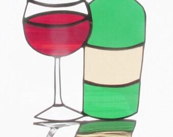 Stained Glass, Wine Bottle, Wine Glass, Sun Catcher, Wine Suncatcher, Vineyard, Vino, Wine Tasting, Kitchen Decor, Wine Festival, Vintage