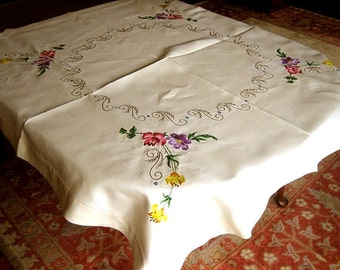 Vintage Linen Tablecloth Hand Embroidered Wide Hems Deep Embroidery Rich Flowers