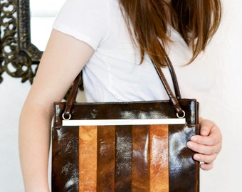 Vintage 60s Mod Monochrome Purse -Large Retro Double Strapped Boho Bag with Metal Zipper Closure