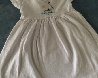 Hand Embroidered Sailboat Dress