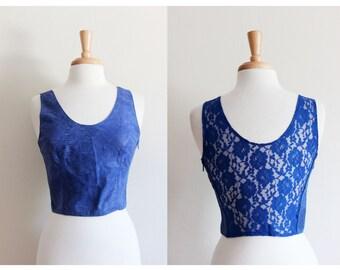 Vintage Blue Sheer Lace Back Leather Crop Top