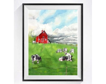 Landscape Watercolor Prints Red Barn Dairy cow prints watercolor painting Black white cow Holstein cow illustration landscape wall art