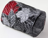 Wrist Wallet, Zippered Wrap Cuff, Hands-free, Secure, Grey and Red, Silver Accents