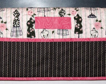 Quilted Sewing Machine Pad, Organizer, Caddy, Vintage Dress Forms, Grey Pink with Black Stripe