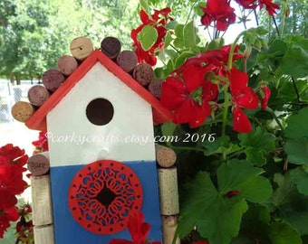 Presidents Day Sale Wine Cork Birdhouse,patriotic garden decor, primitive, garden gifts