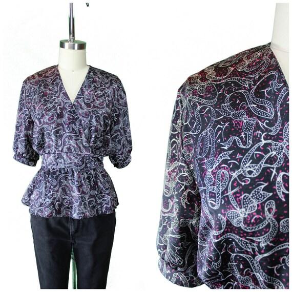 Bow Print Blouse/ 1980s Vintage Blouse/ Peplum Blouse/ Multicolor Print Blouse/ Vintage 80s Shirt