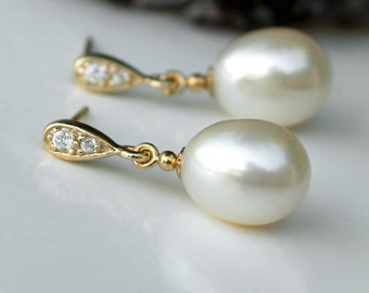 Drop Pearl Earrings   Ivory White Freshwater Drop Pearls in 14k Gold Fill   Gold Vermeil CZ Studs   Vintage Style   Wedding   Ready to Ship