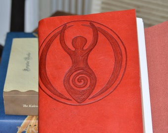 Handmade Red Leather Journal with Goddess Free Personalization