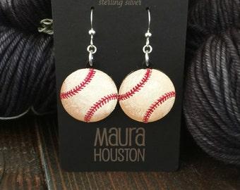 Hand painted baseball earrings