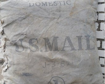 Extra Large vintage  canvas MAIL BAG PILLOW