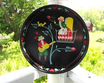 Vintage Mid Century Scandinavian Folk Art Serenade Serving Tray Colorful Image on Black