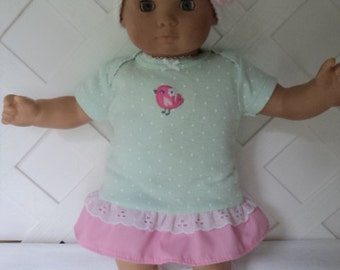 Bitty Baby Girl cute 3 pc. Pink and Green  dress with  Socks and a Hat,    doll clothes