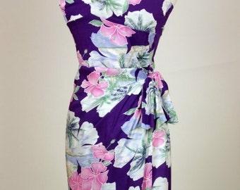 LOVELY Purple Vintage Hawaiian Wiggle Pink TROPICAL Sarong Dress Tiki Oasis VLV