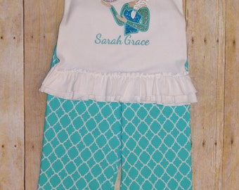 Chevron ruffled pant set with long or short sleeved ice princess birthday number ruffle top.
