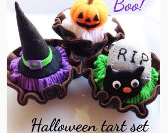 Etsy Pretend Felt food Playfood  Halloween Tart 3pc