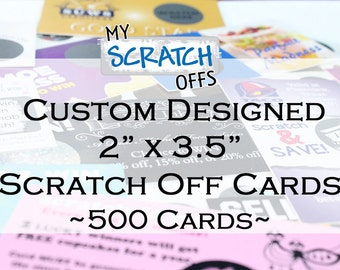 """Custom Scratch Off Cards 2"""" x 3.5"""" Business Cards Scratch-Off Promotions Cards - 500 cards"""